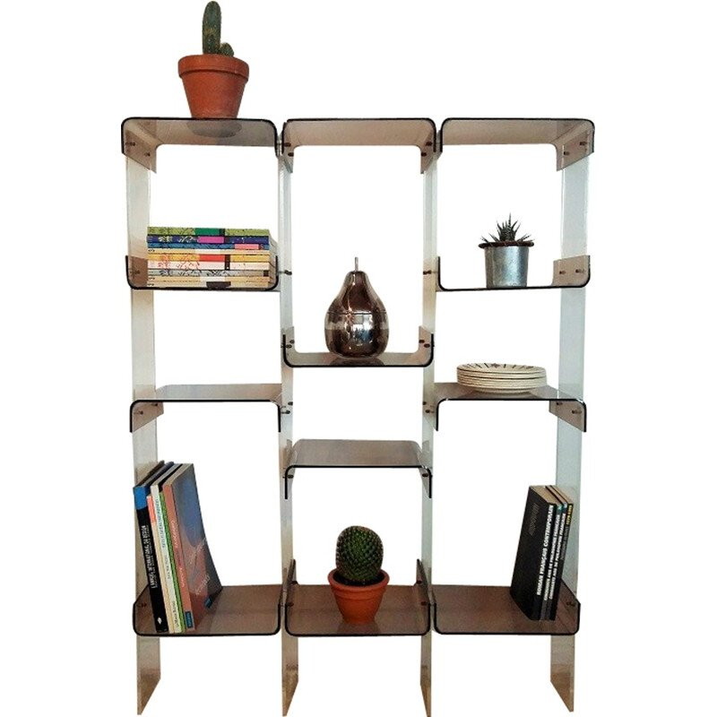 Vintage French Plexiglas Bookshelf - 1970s.