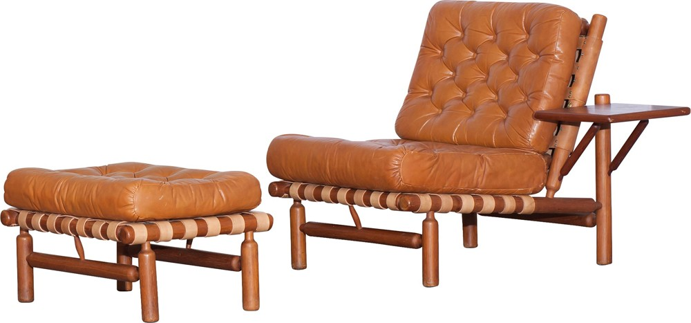Swell Cognac Lounge Chair With Ottoman Ilmari Tapiovaara 1950S Design Market Creativecarmelina Interior Chair Design Creativecarmelinacom