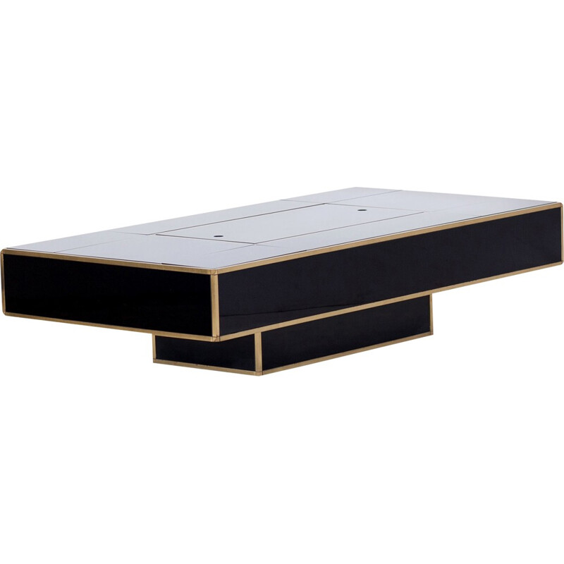 Black & Brass Coffee Table for Mario Sabot - 1970s