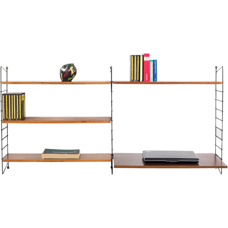 String shelving unit, walnut by Nisse Strinning - 1950s