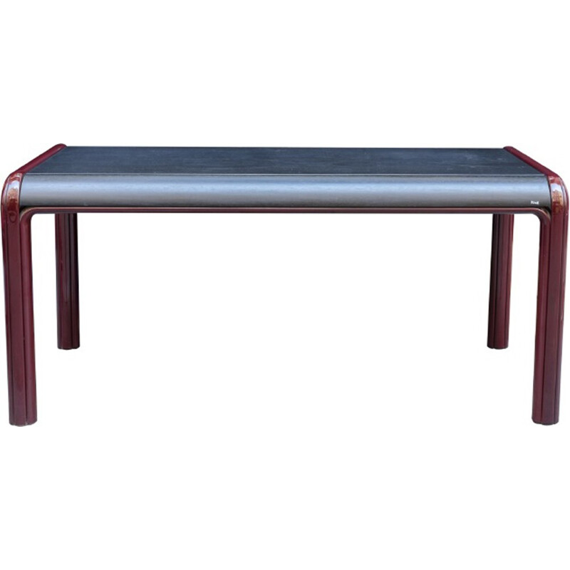 Vintage table in metal and wood by Gae Aulenti for Knoll - 1970s