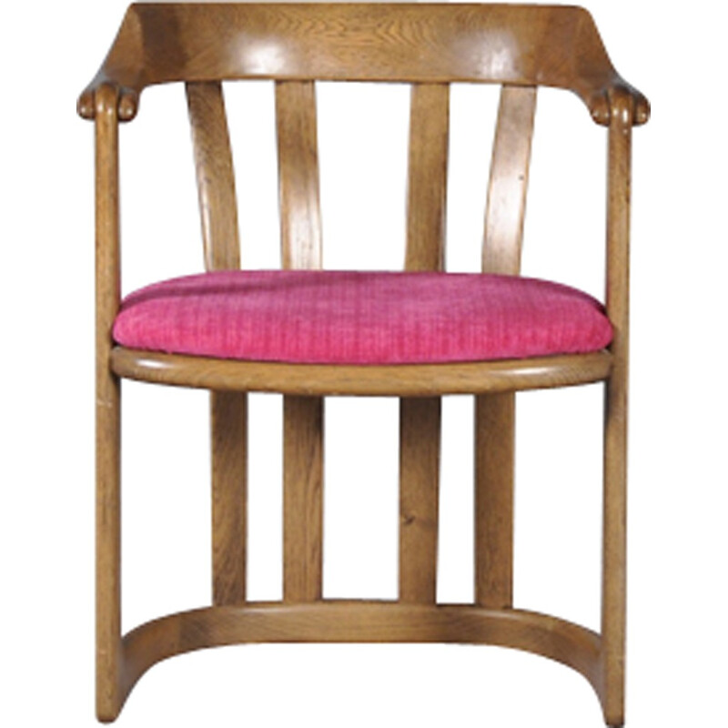Vintage armchair in wood and pink fabric by Knoll Collection - 1960s