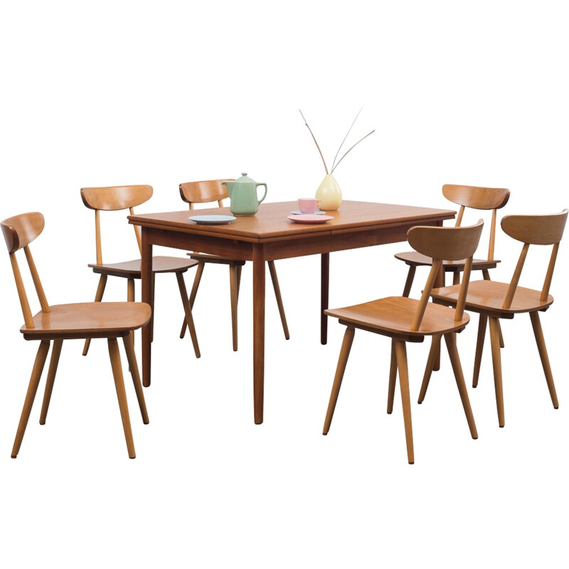 Set of 6 dining chairs in solid beechwood - 1950s