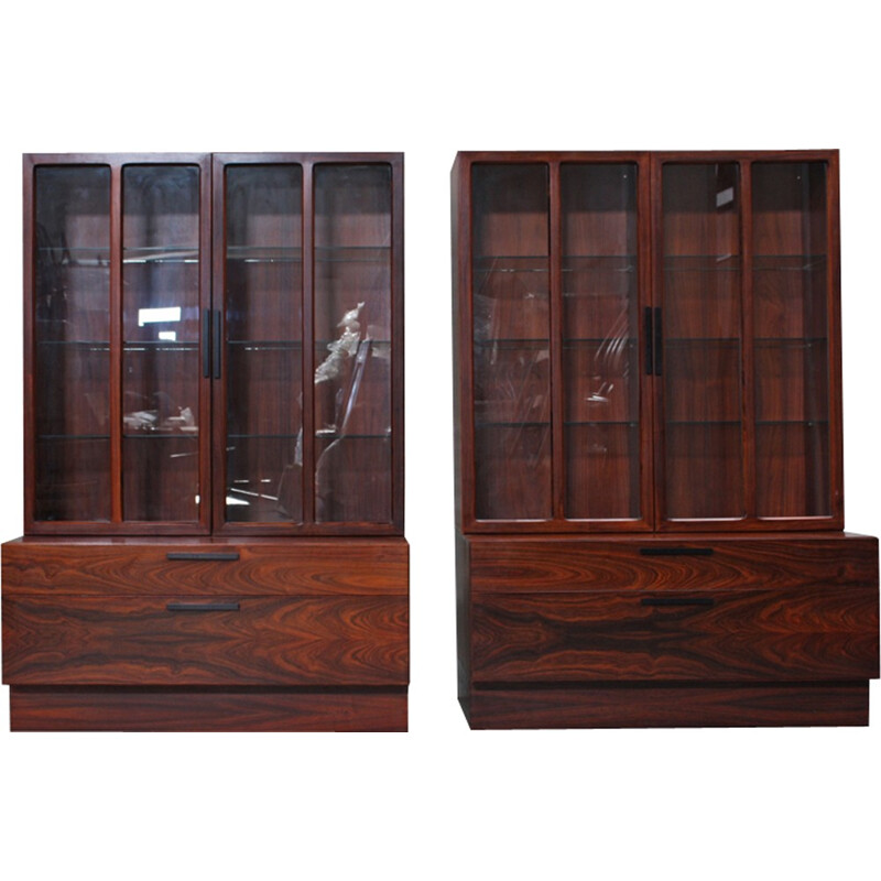 Pair of Vintage Rosewood Cabinets by Ib Kofod Larsen for Faarup Møbelfabrik - 1960s