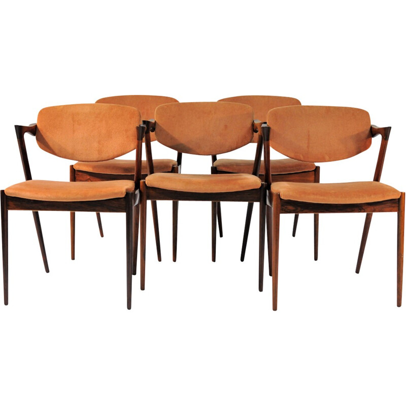 set of 6 Dining Chair, Model 42 in Rosewood by Kai Kristiansen - 1960s