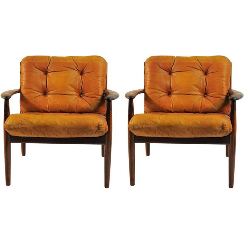 Set of 2 Lounge armchairs in Rosewood and Original Brown Leather Cushions by Grete Jalk - 1960s