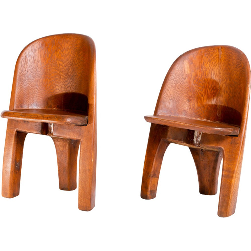 Pair of brutalist massive oak chairs - 1970s