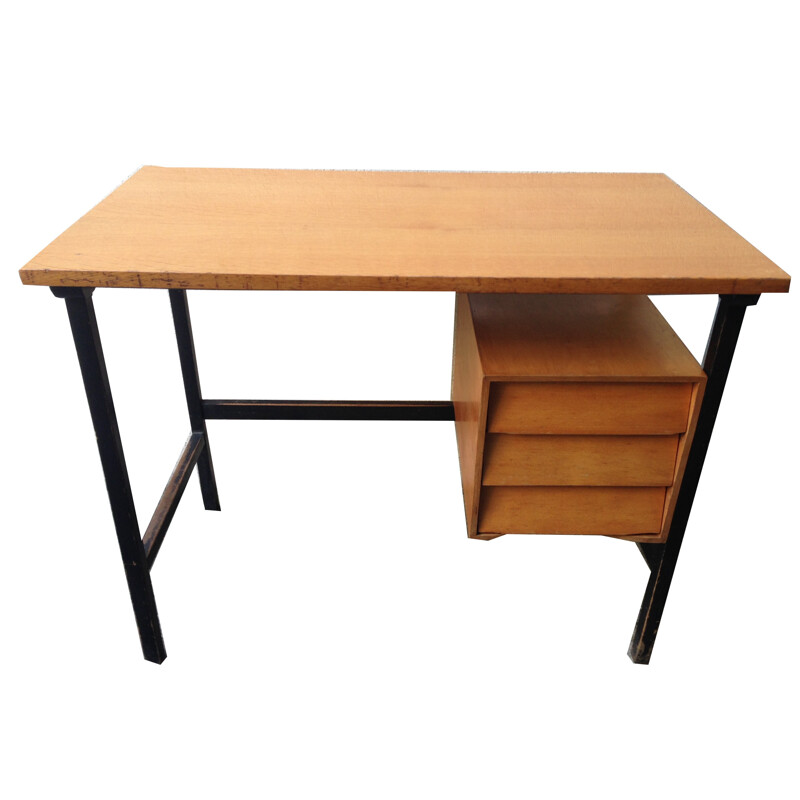 Vintage desk with 3 drawers - 1950s
