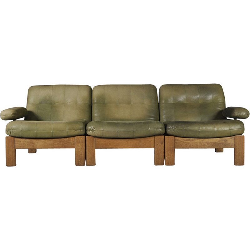Sectional Green Leather Sofa for Leolux - 1970s