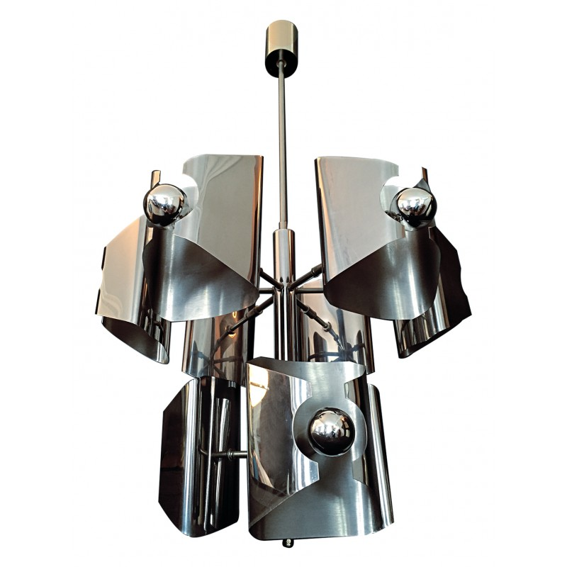 Vintage stainless steel chandelier - 1970s