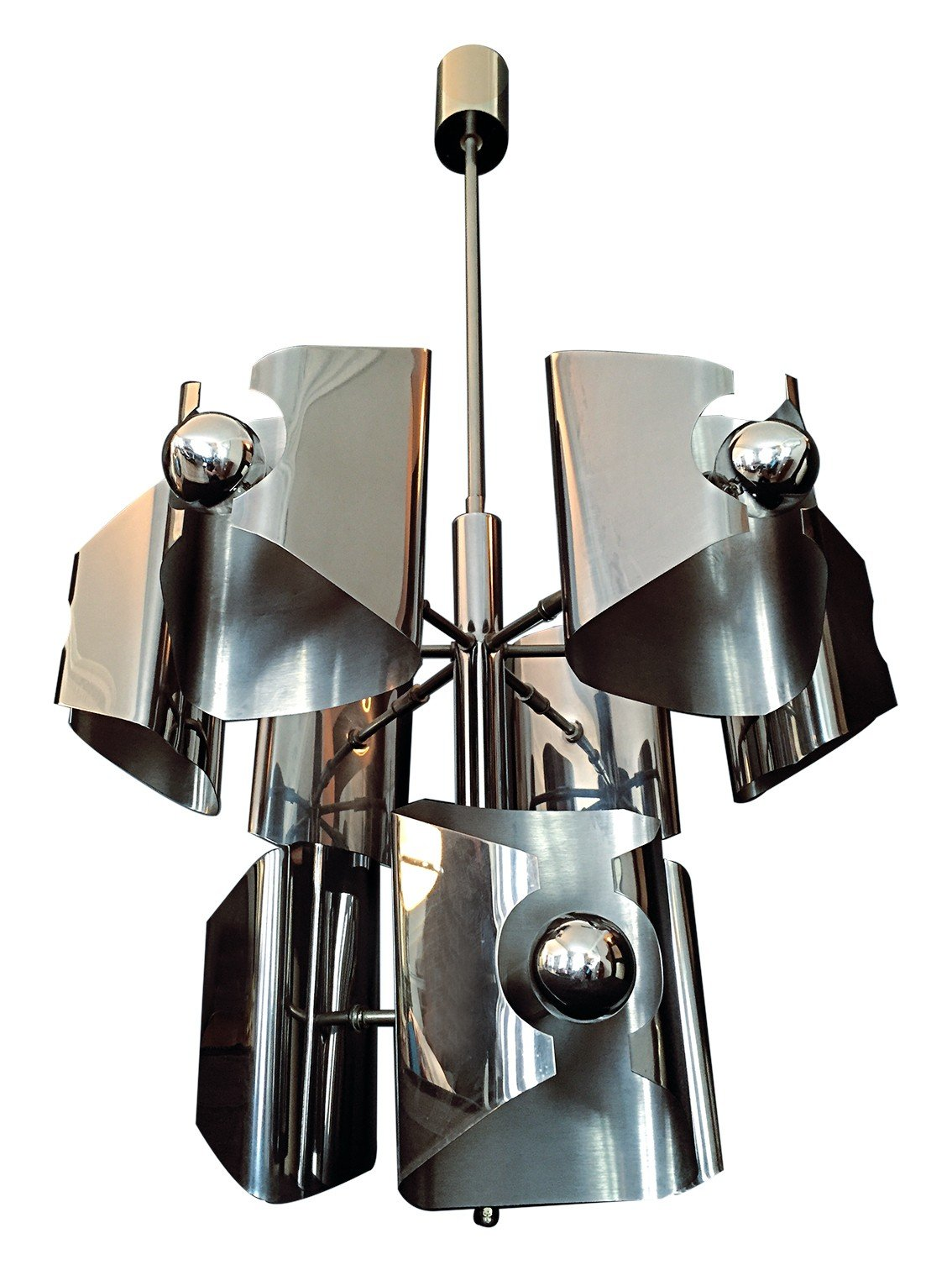 Vintage stainless steel chandelier - 1970s - Design Market