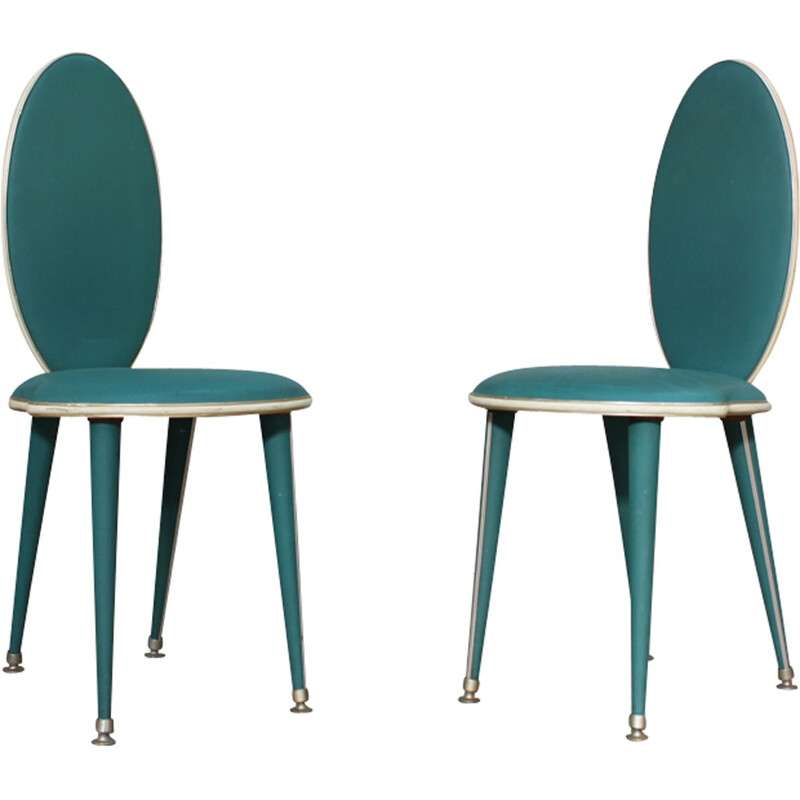 Pair of Vintage Dining Chairs by Umberto Mascagni - 1950s