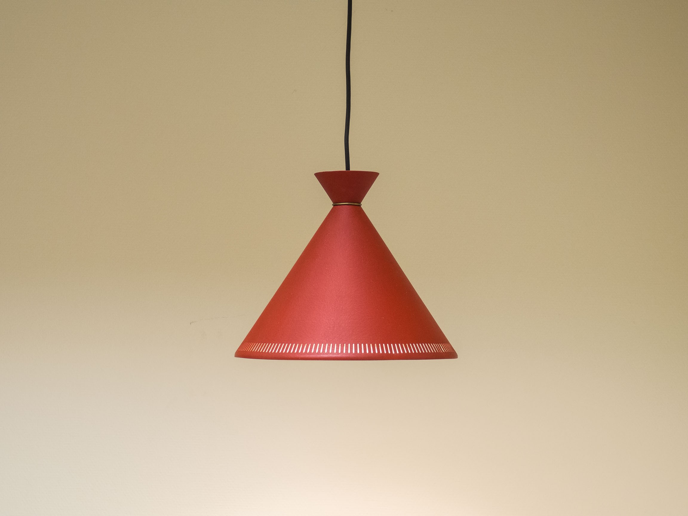 Vintage danish red pendant light 1950s previous next