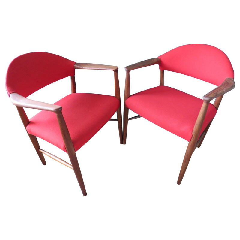 Pair of red armchairs, Erik KIRKEGAARD - 1960s