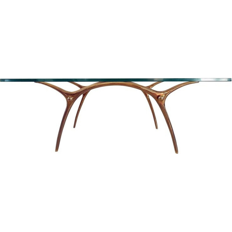 Coffee Table in Glass an Polished Brass by KOULOUFI - 1950s