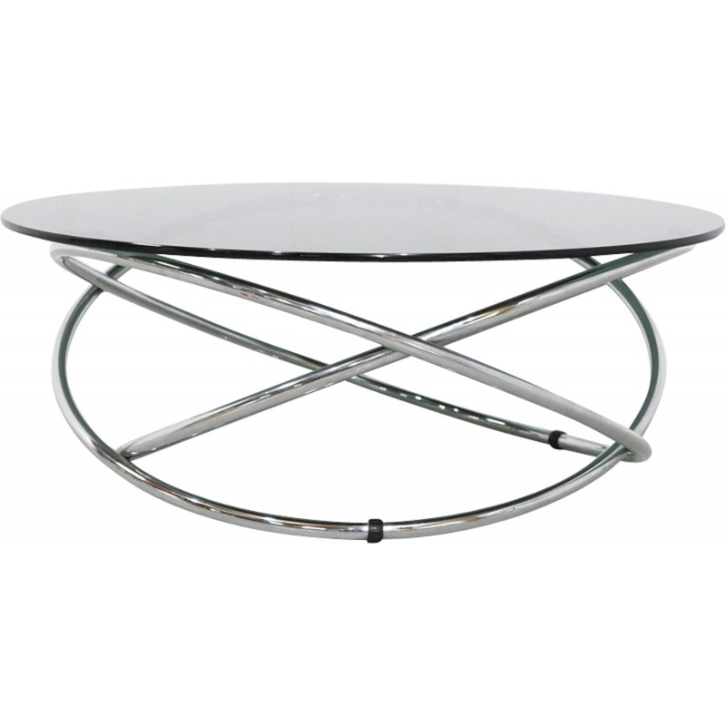 Italian Glass Coffee Table.Italian Chrome And Smoked Glass Coffee Table 1960s