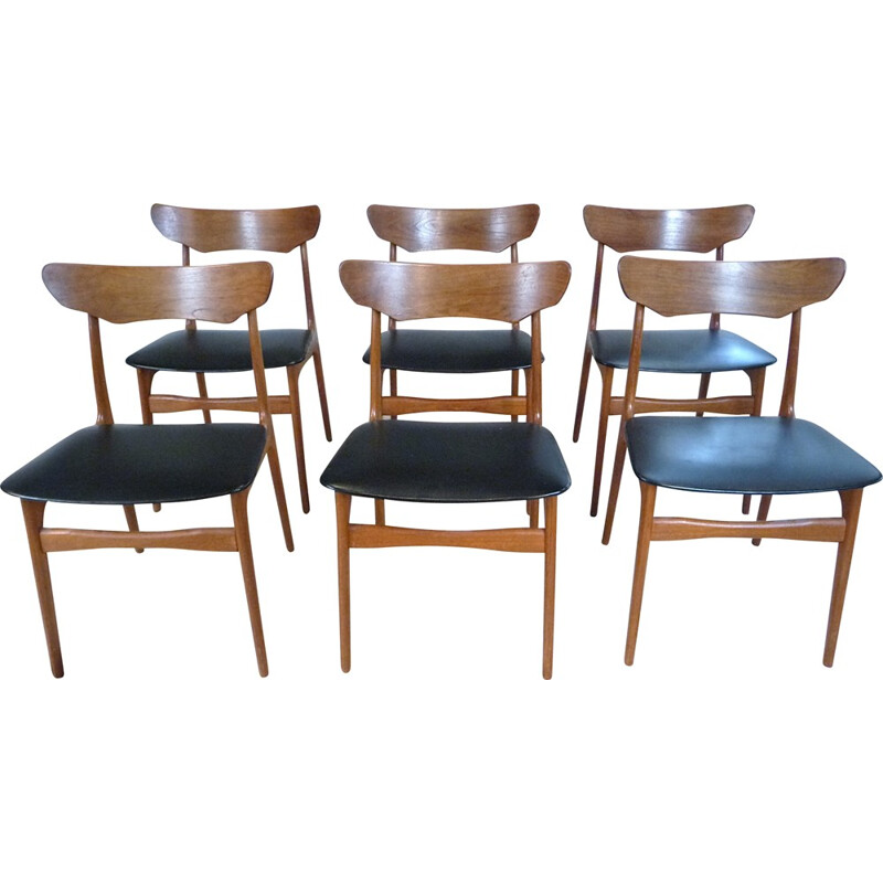 Set of 6 Danish Teak Dining Chairs by Schionning Elgaard for Randers - 1960s