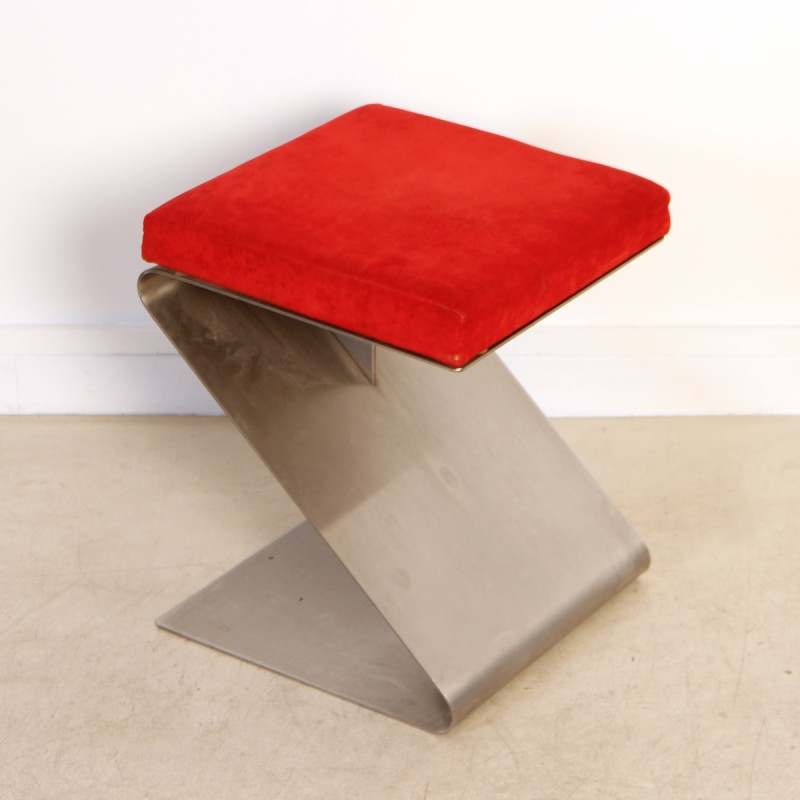 Awesome French Vintage Stainless Steel Stool 1970S Squirreltailoven Fun Painted Chair Ideas Images Squirreltailovenorg