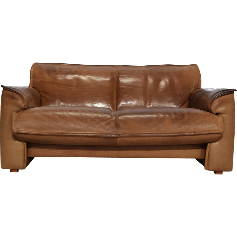 Cognac Neck Leather 2 Seater Sofa for Leolux - 1970s