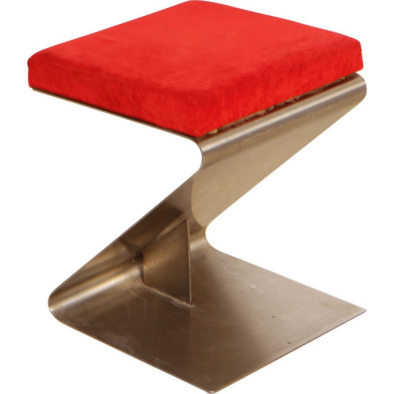 French Vintage Stainless Steel Stool - 1970s