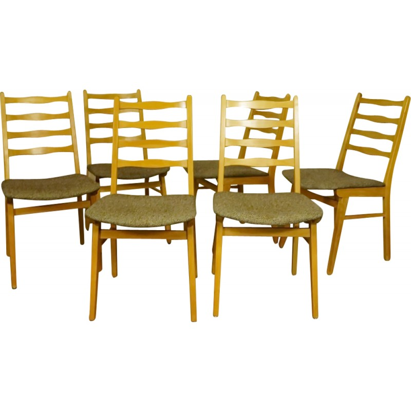Set Of 6 Beechwood Dining Chairs 1950s