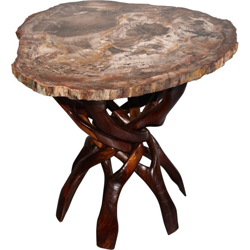 African fossilized wooden pedestal table - 1970s