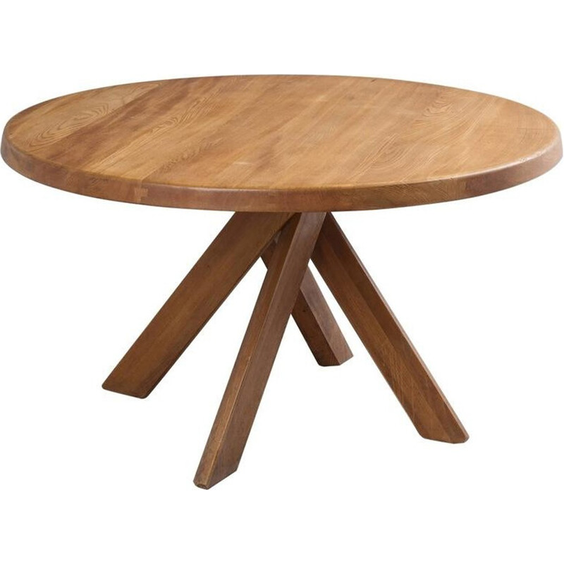 Dining Table T21 Pierre Chapo in solid elm - 1970s