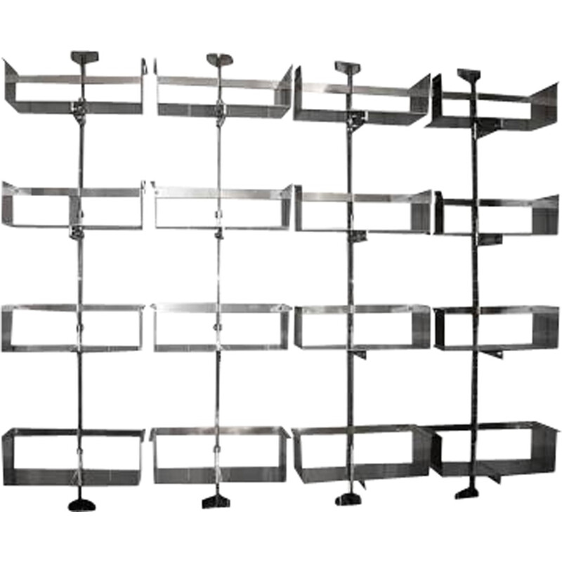 Stainless steel shelves by Vittorio Introini for Saporiti - 1970s