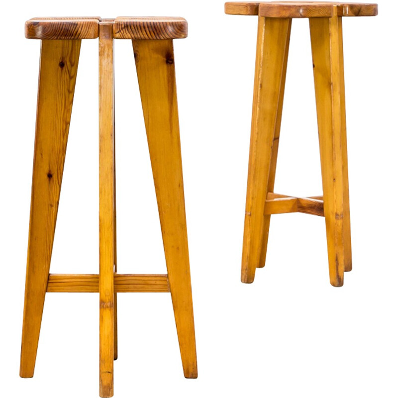 Set of 2 Lisa Johansson Pape pine stools for Stockmann AB - 1960s