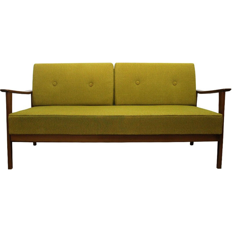 Vintage daybed in green fabric and wood - 1960s