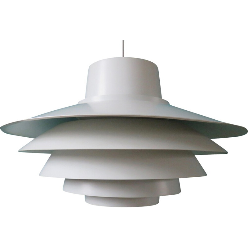 Large white pendant Verona lamp - 1980s