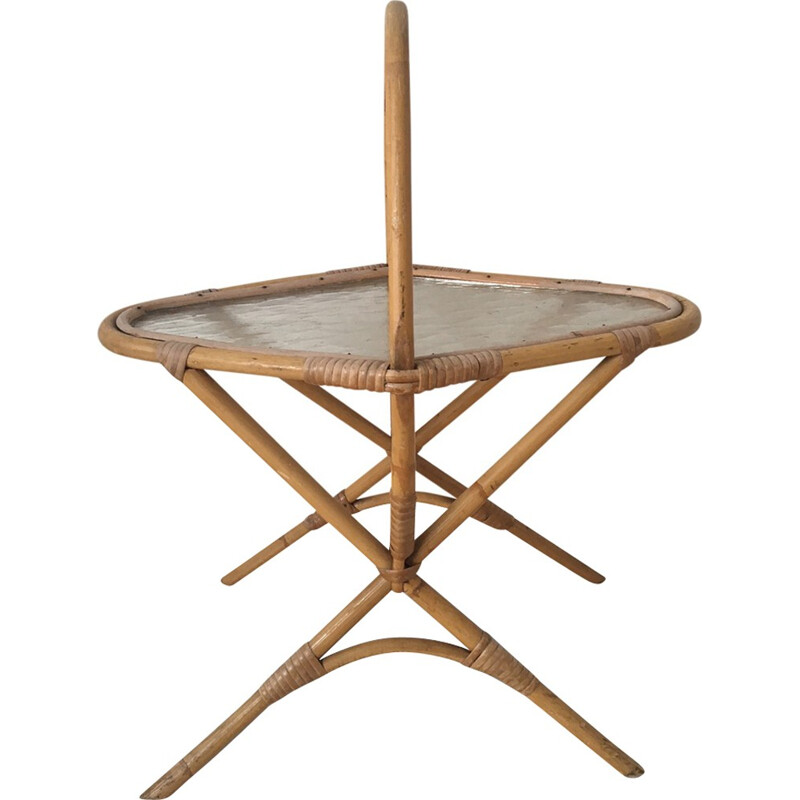 Vintage Rattan and Glass Side Table - 1960s