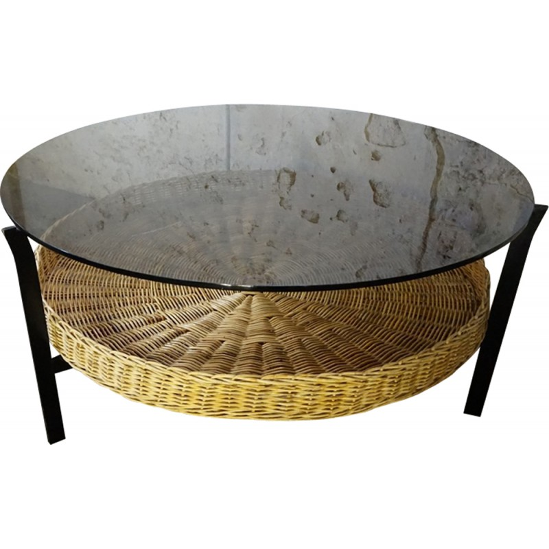 Coffee Table With Baskets: Smoked Glass Coffee Table With Wicker Magazine Basket