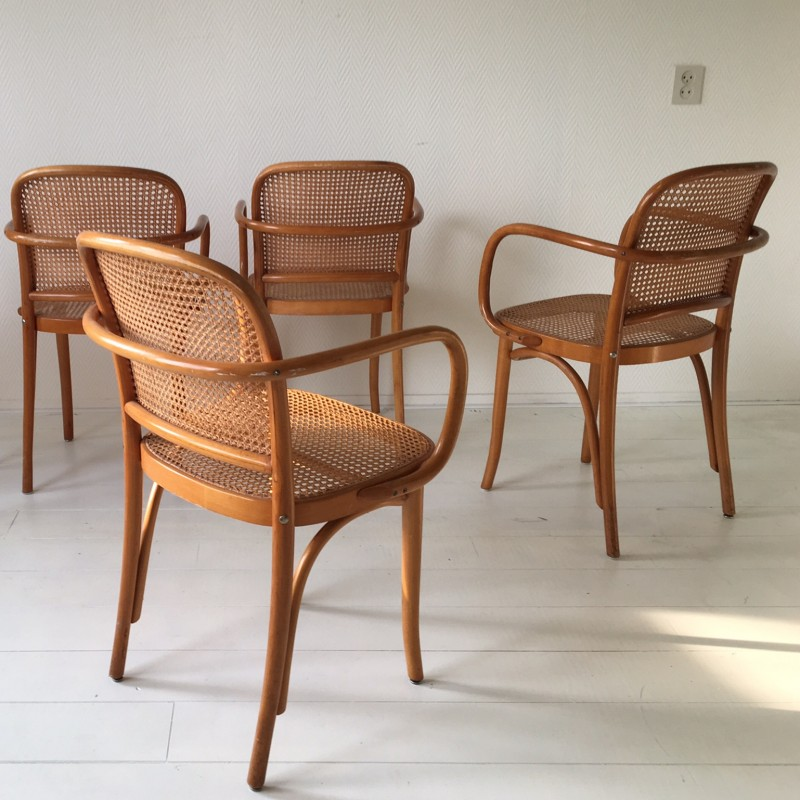 Well-liked Set of 4 model 811 bentwood and cane chairs by Josef Hoffmann  YT84