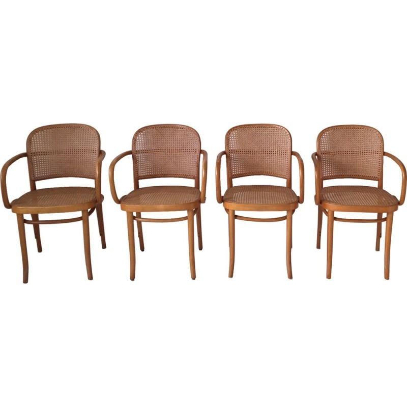 Set Of 4 Model 811 Bentwood And Cane Chairs By Josef Hoffmann   1960s