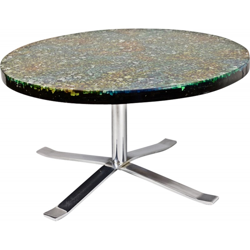 Round Coffee Table Giraudon Stone Resin With Glass Inclusions 60s