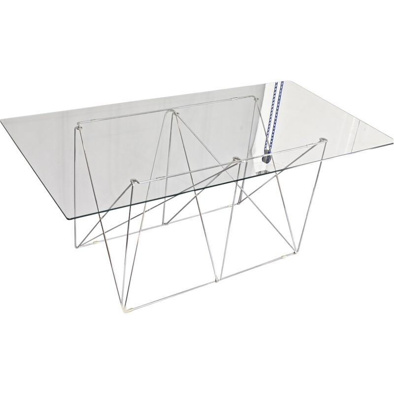"""Dining Table"" by Max Sauze made of tubular steel and glass - 1970s"