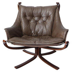 "Brown ""Falcon"" armchair, Sigurd RESSELL - 1970s"