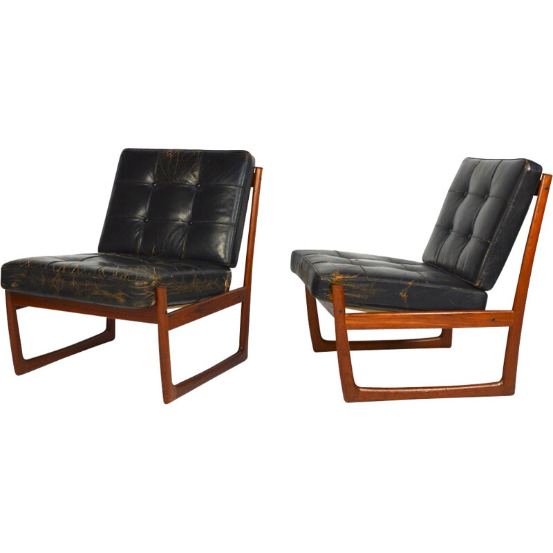 Pair of FD130 armchairs by Peter Hvidt & Orla Molgaard Nielsen for France and Son - 1960s