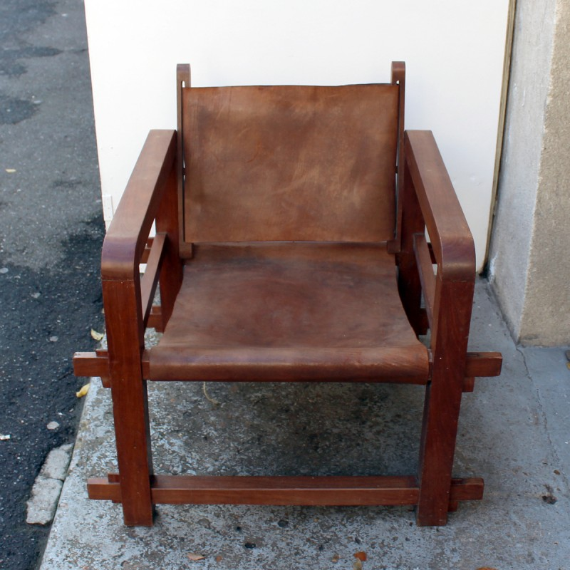 Set Of 4 Vintage Armchairs In Solid Wood And Cognac Leather   1950s    Design Market