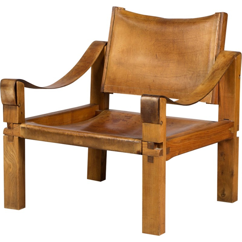 Set of 2 S10X Leather Armchairs by Pierre Chapo - 1970s
