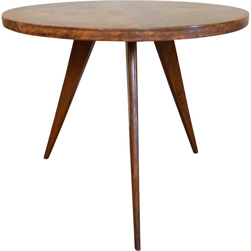 Vintage Tripod coffee table in oakwood - 1960s