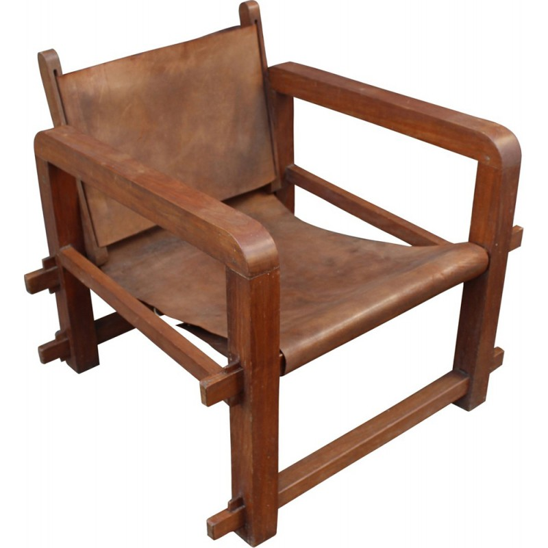 Set Of 4 Vintage Armchairs In Solid Wood And Cognac Leather   1950s