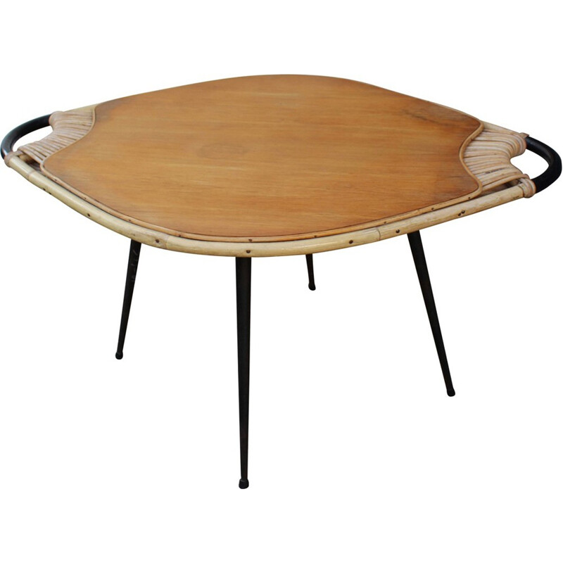Vintage coffee table in metal, wood and rattan - 1950s