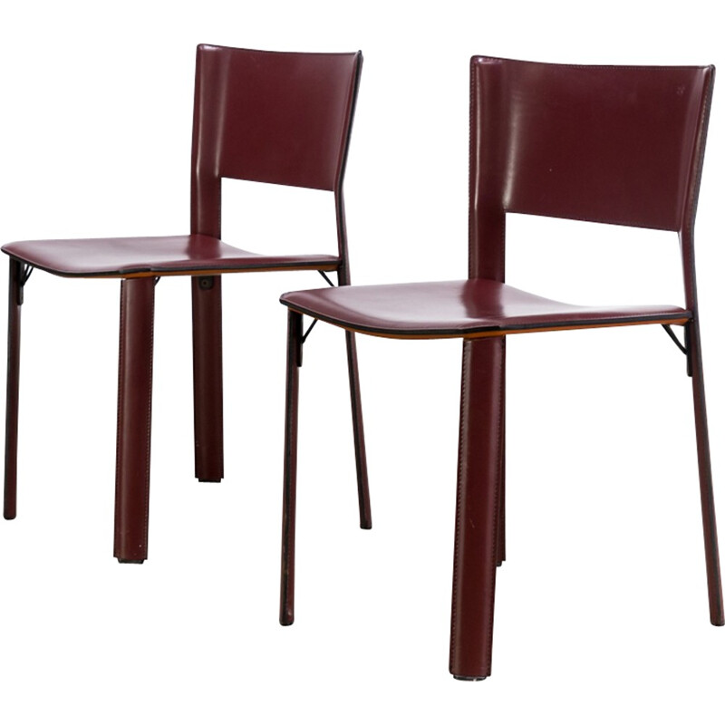 "Pair of ""S91"" italian chairs by Giancarlo Vegni for Fasem - 1990s"