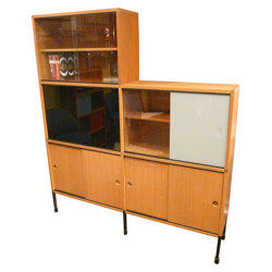 Flexible storage cabinet in wood and metal, ARP (Guariche, Motte, Mortier) - 1960s