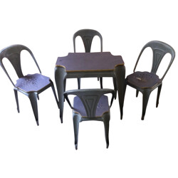 Set of table and 4 chairs in wood and metal, Joseph MATHIEU - 1940s
