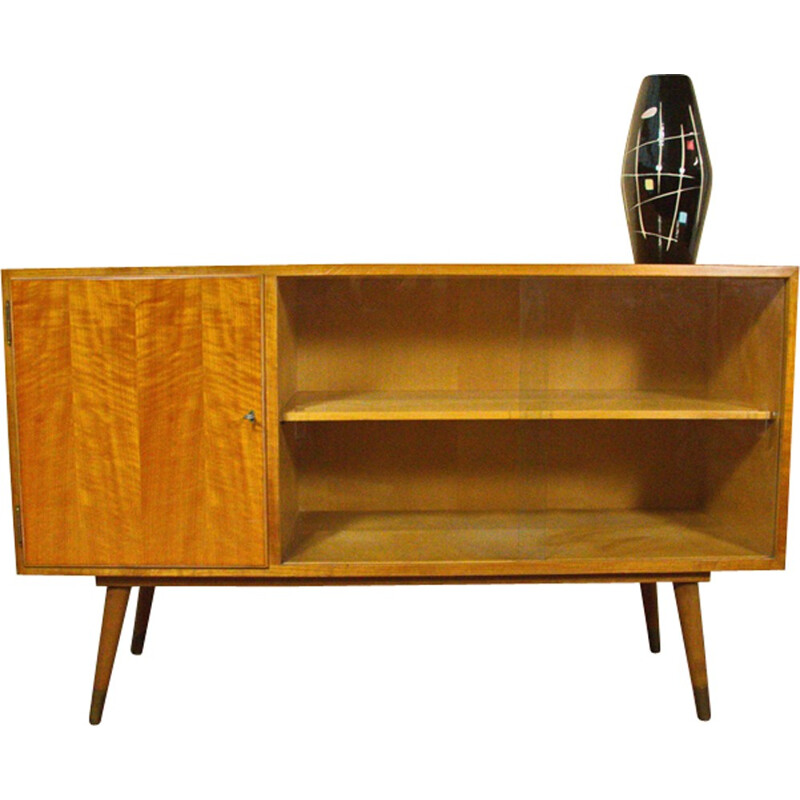 Sideboard with display case in elm - 1950s