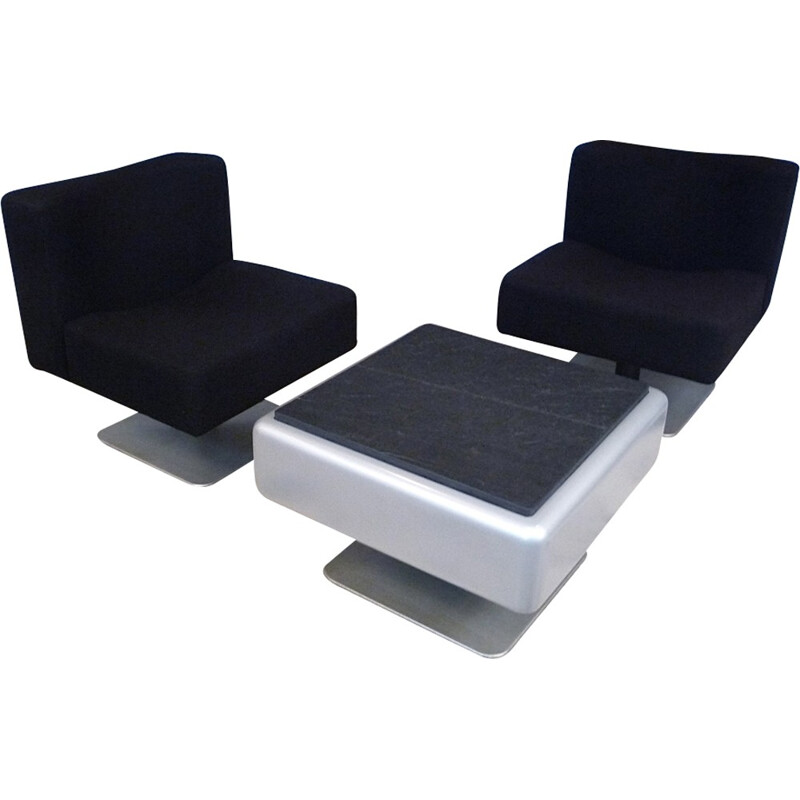 Set of 3 System 350 Lounge Chairs & Side Table by Herbert Hirche for Mauser - 1970s