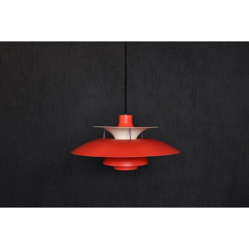 Vintage Red Pendant Lamp Ph5 By Louis Poulsen For Poul Henningsen 1950s